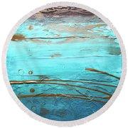 Coastal Escape I Textured Abstract Round Beach Towel