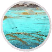 Coastal Escape II Textured Abstract Round Beach Towel