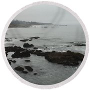 Coastal Fog Round Beach Towel by Russell Keating