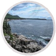 Coastal Landscape From Ocean Path Trail, Acadia National Park Round Beach Towel