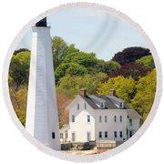 Coastal Lighthouse-c Round Beach Towel