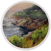 Coastal Mist Round Beach Towel