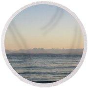 Coastal Mountains At Sunrise Round Beach Towel
