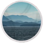 Coastal Mountains Round Beach Towel