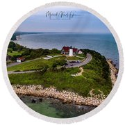 Coastal Nobska Point Lighthouse Round Beach Towel