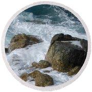 Coastal Rocks Trap Water Round Beach Towel