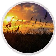 Round Beach Towel featuring the photograph Coastal Spirits by John Harding