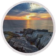 Coastal Sunrise On The Cliffs Round Beach Towel