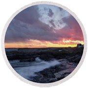 Coastal Sunset Cape Neddick - York Maine  -21056 Round Beach Towel