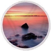 Round Beach Towel featuring the photograph Coastal Sunset Kintyre by Grant Glendinning