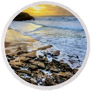 Round Beach Towel featuring the photograph Coastal Sunset by Marion McCristall