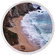 Coastal View At Big Sur Round Beach Towel