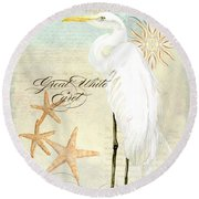 Coastal Waterways - Great White Egret 3 Round Beach Towel by Audrey Jeanne Roberts