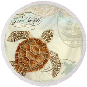 Coastal Waterways - Green Sea Turtle 2 Round Beach Towel