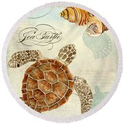 Coastal Waterways - Green Sea Turtle Rectangle 2 Round Beach Towel