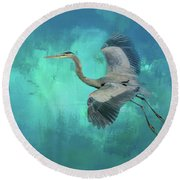 Coasting Blue Heron Bird Art Round Beach Towel