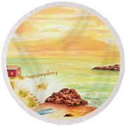 Coastline Lighthouse Round Beach Towel