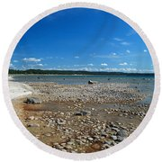 Coastline Of Lake Michigan  Near Petoskey State Park - Little Traverse Bay Round Beach Towel