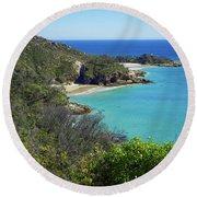 Coastline Views On Moreton Island Round Beach Towel