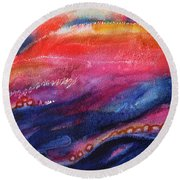 Round Beach Towel featuring the painting Coatings And Deposits Of Color by Kathy Braud