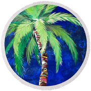 Cobalt Blue Palm II Round Beach Towel