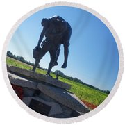 Cobber Statue Round Beach Towel by Therese Alcorn