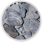 Round Beach Towel featuring the photograph Cobbles And Pebbles by Phil Banks