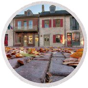 Cobblestone And Leaves Round Beach Towel