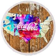 Coca Cola America Round Beach Towel