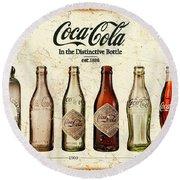 Coca-cola Bottle Evolution Vintage Sign Round Beach Towel