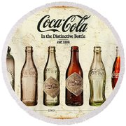 Coca-cola Bottle Evolution Vintage Sign Round Beach Towel