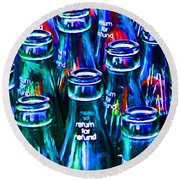 Coca-cola Coke Bottles - Return For Refund - Painterly - Blue Round Beach Towel
