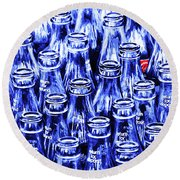 Coca-cola Coke Bottles - Return For Refund - Square - Painterly - Blue Round Beach Towel