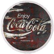 Coca Cola Grunge Sign Round Beach Towel