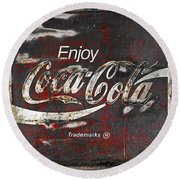 Coca Cola Grunge Sign Round Beach Towel