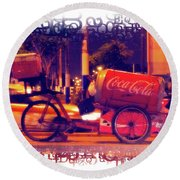 Round Beach Towel featuring the photograph Coca Cola Tricycle Bin - Lima by Mary Machare