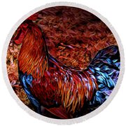 Cock Rooster Round Beach Towel