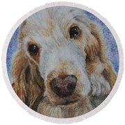 Cocker Spaniel Love Round Beach Towel