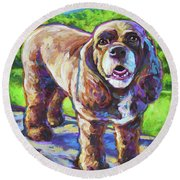 Round Beach Towel featuring the painting Cocker Spaniel  by Robert Phelps