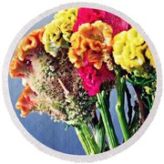 Round Beach Towel featuring the photograph Cockscomb Bouquet 2 by Sarah Loft