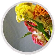 Round Beach Towel featuring the photograph Cockscomb Bouquet 4 by Sarah Loft