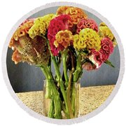 Round Beach Towel featuring the photograph Cockscomb Bouquet by Sarah Loft