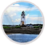 Round Beach Towel featuring the photograph Cockspur Lighthouse by Tara Potts