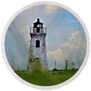 Round Beach Towel featuring the photograph Cockspur Lighthouse Through The Grass by Tara Potts