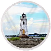 Round Beach Towel featuring the photograph Cockspur Lighthouse Vertical by Tara Potts
