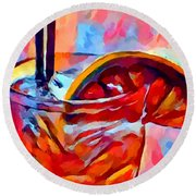 Cocktail 2 Watercolor Round Beach Towel