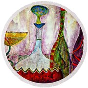 Cocktail And Wine Round Beach Towel