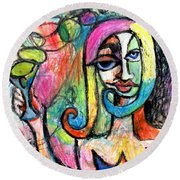 Round Beach Towel featuring the mixed media Hippy Chic Funky Color Pop Cocktail by Genevieve Esson