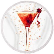 Cocktail Drinks Glass Watercolor Red Round Beach Towel