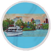 Round Beach Towel featuring the painting Cocktails On The New River by Deborah Boyd